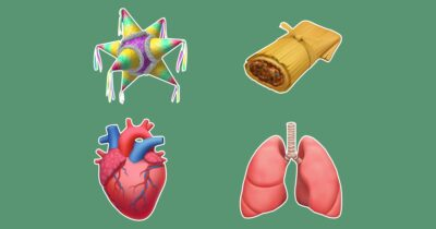 New emojis: Piñata, tamale, heart, and lungs.
