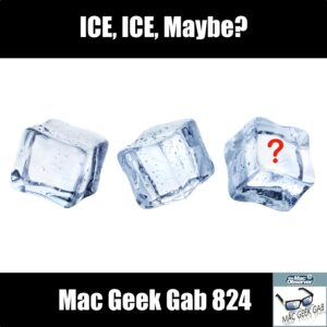 Mac Geek Gab 824 episode image with 3 ice cubes and text