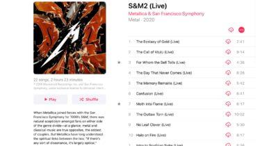 Metallica S&M2 on Apple Music