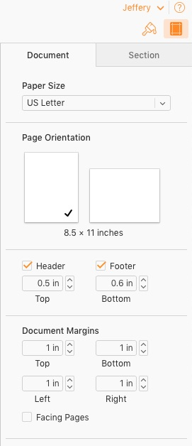 Page Layout Options in Apple Pages