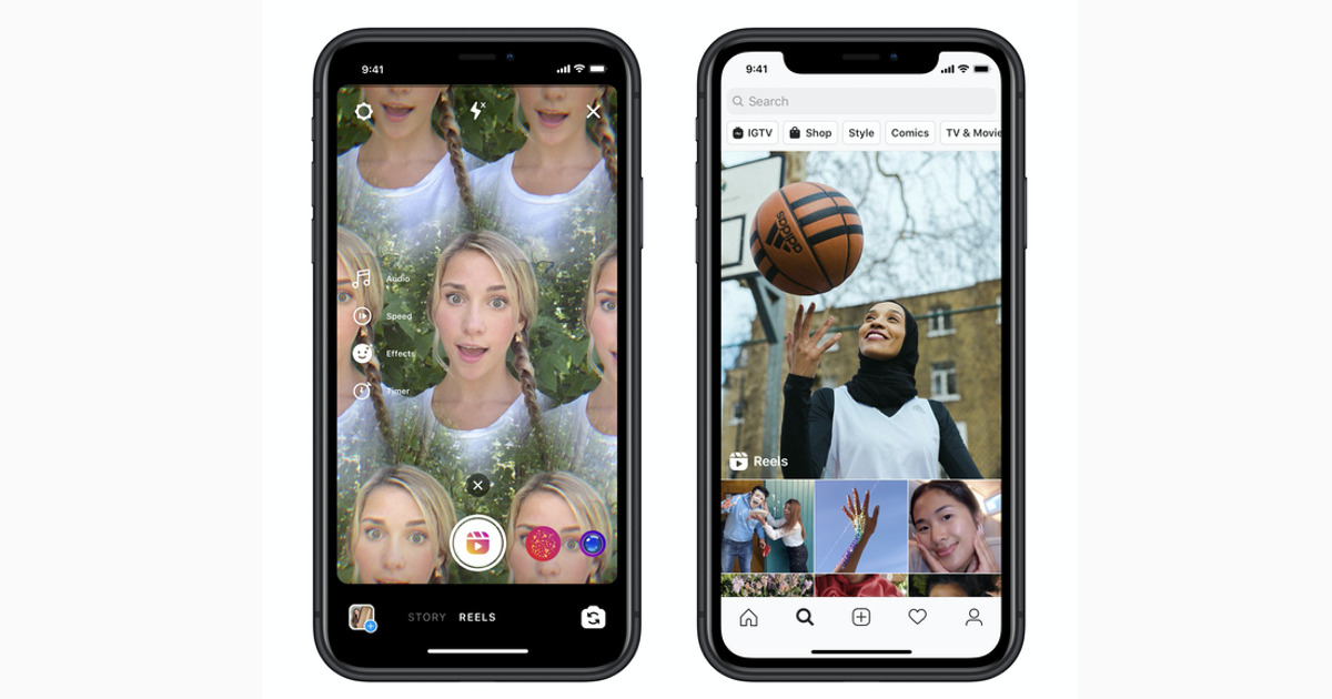 Two imagine of Instagram reels on an iPhone