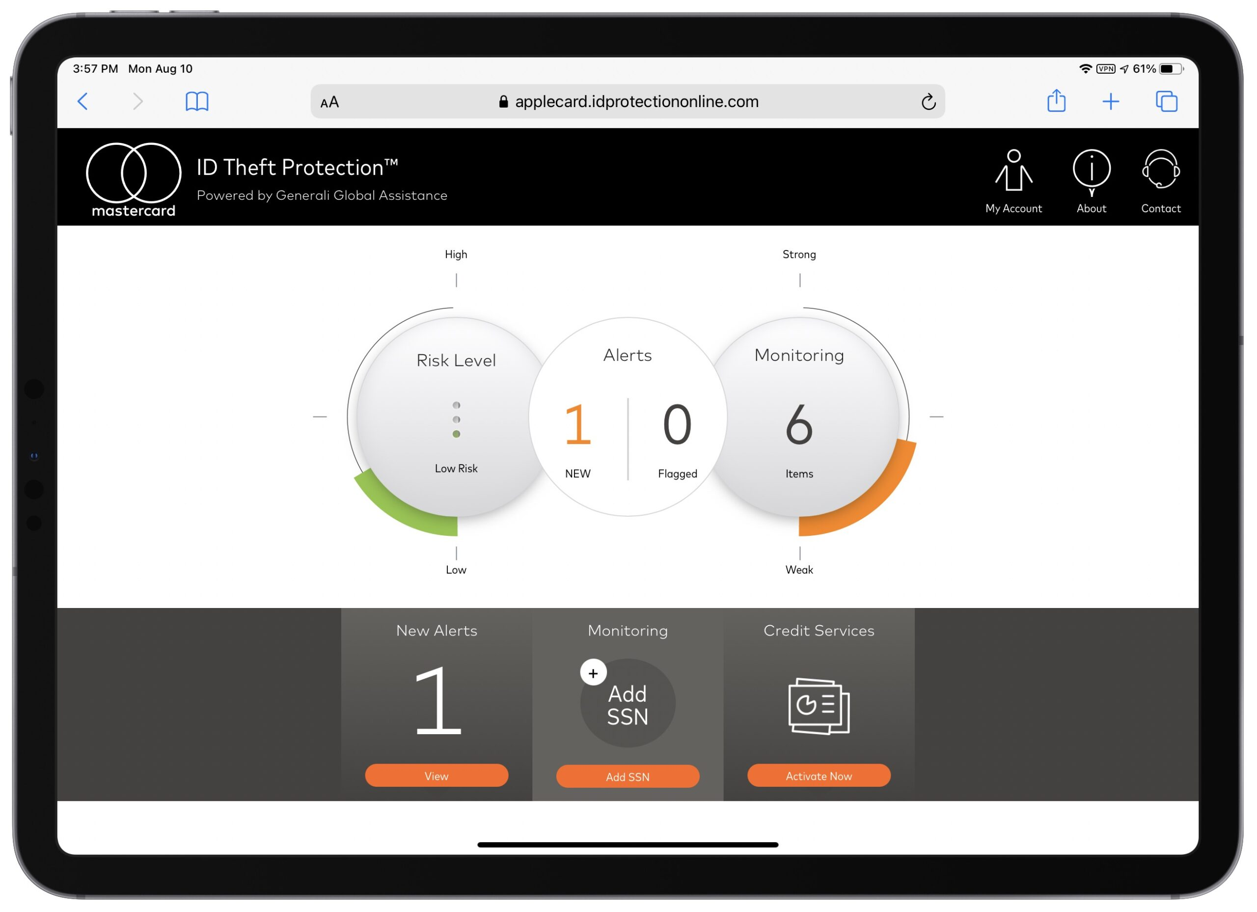 Screenshot of Mastercard ID theft protection dashboard.