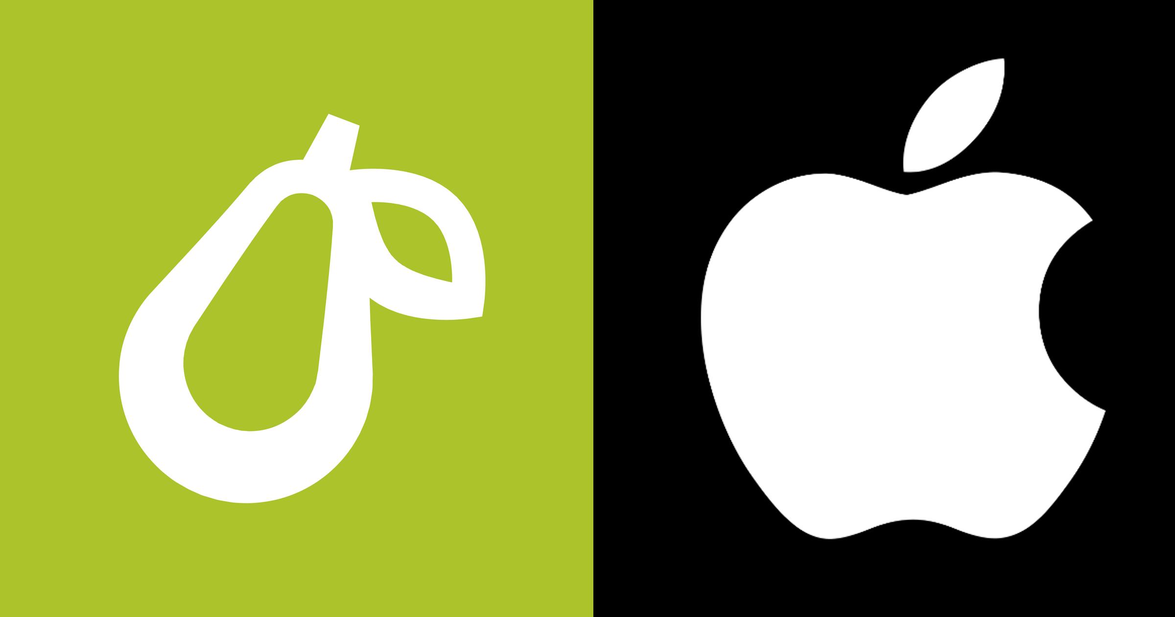 Prepear Pear logo and Apple logo
