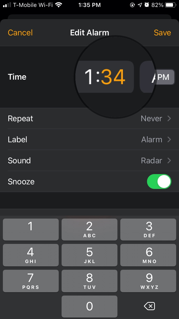 The selection for the numeric keypad in iOS 14 Clock's Alarm tab can be finicky