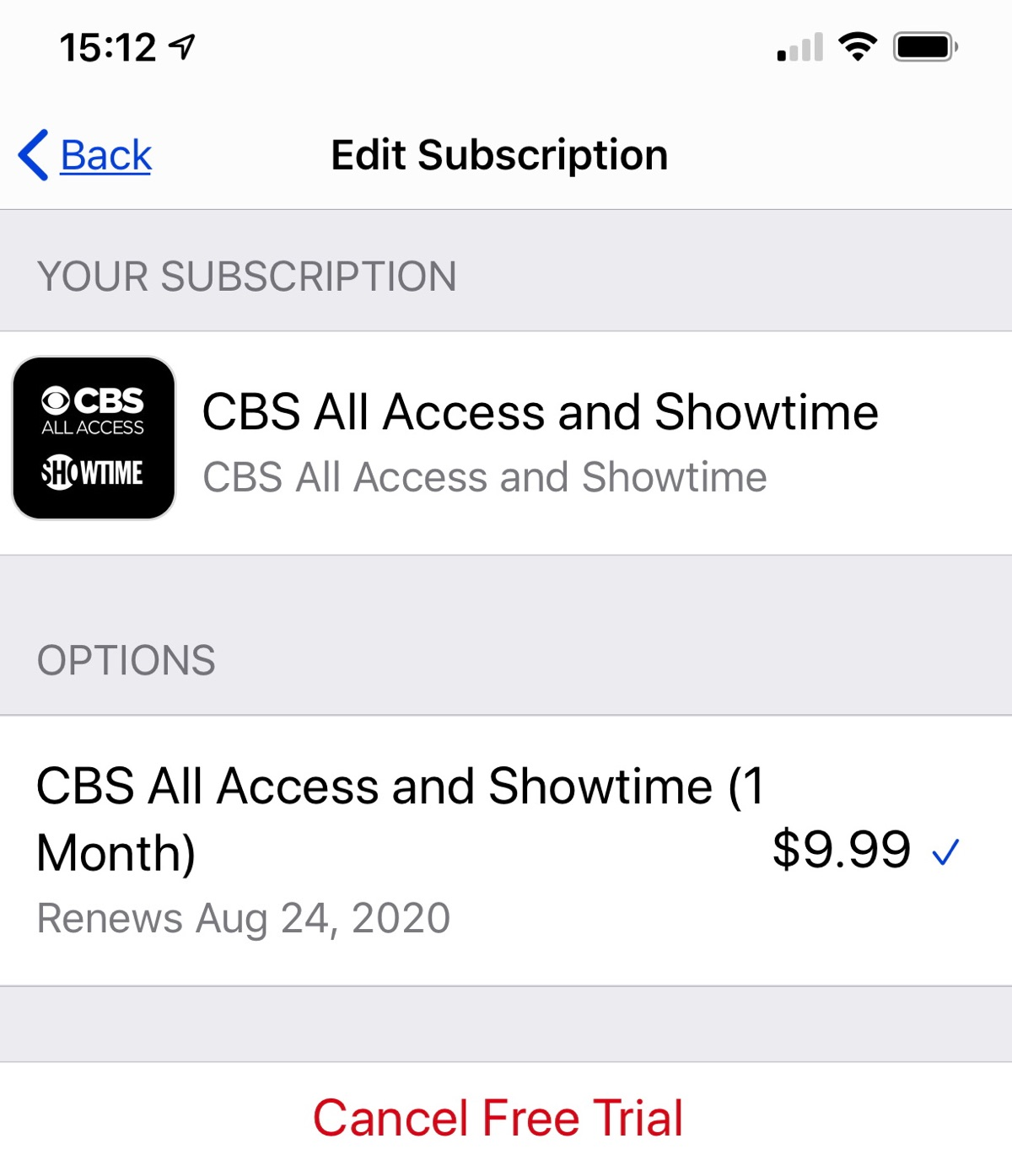Subscription page
