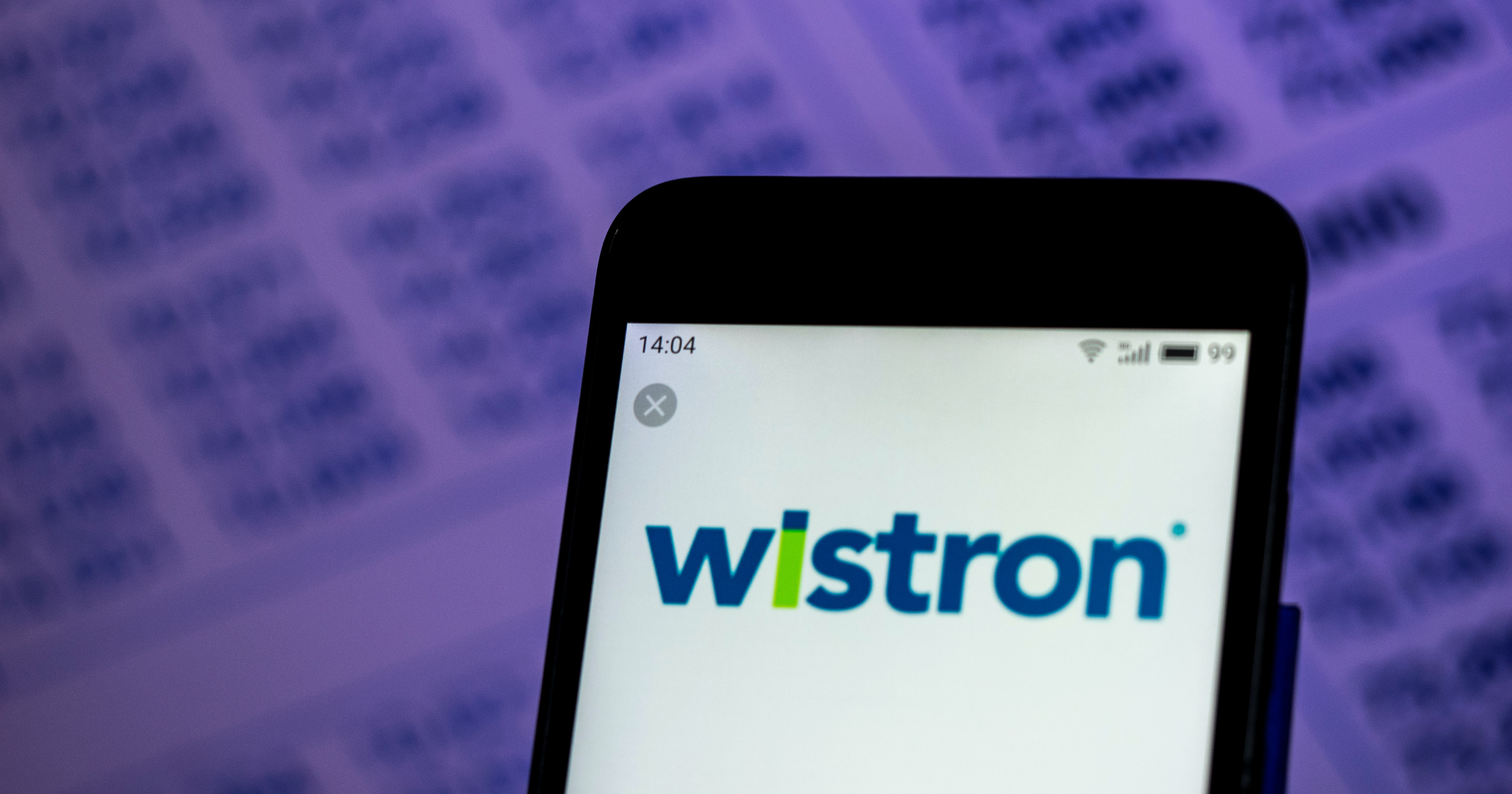 Wistron logo on an iPhone