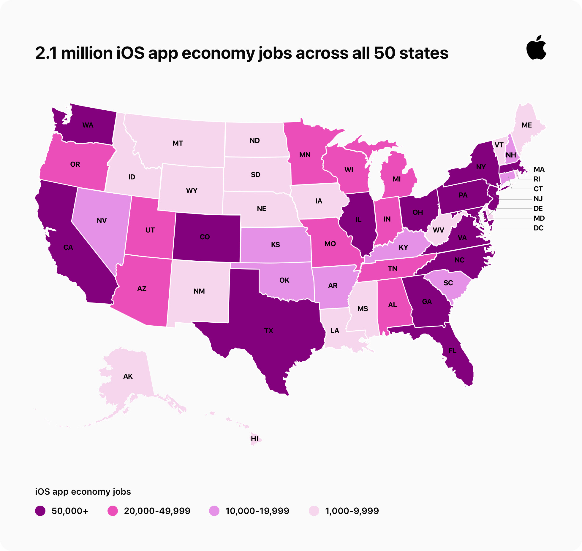 Infographic of app economy jobs in the United States