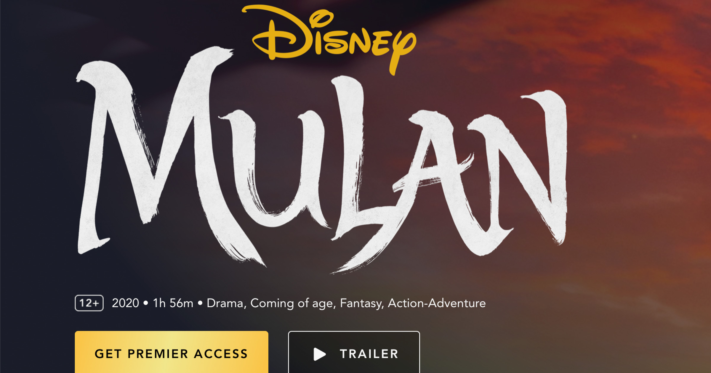 Disney+ Mulan Premier Access