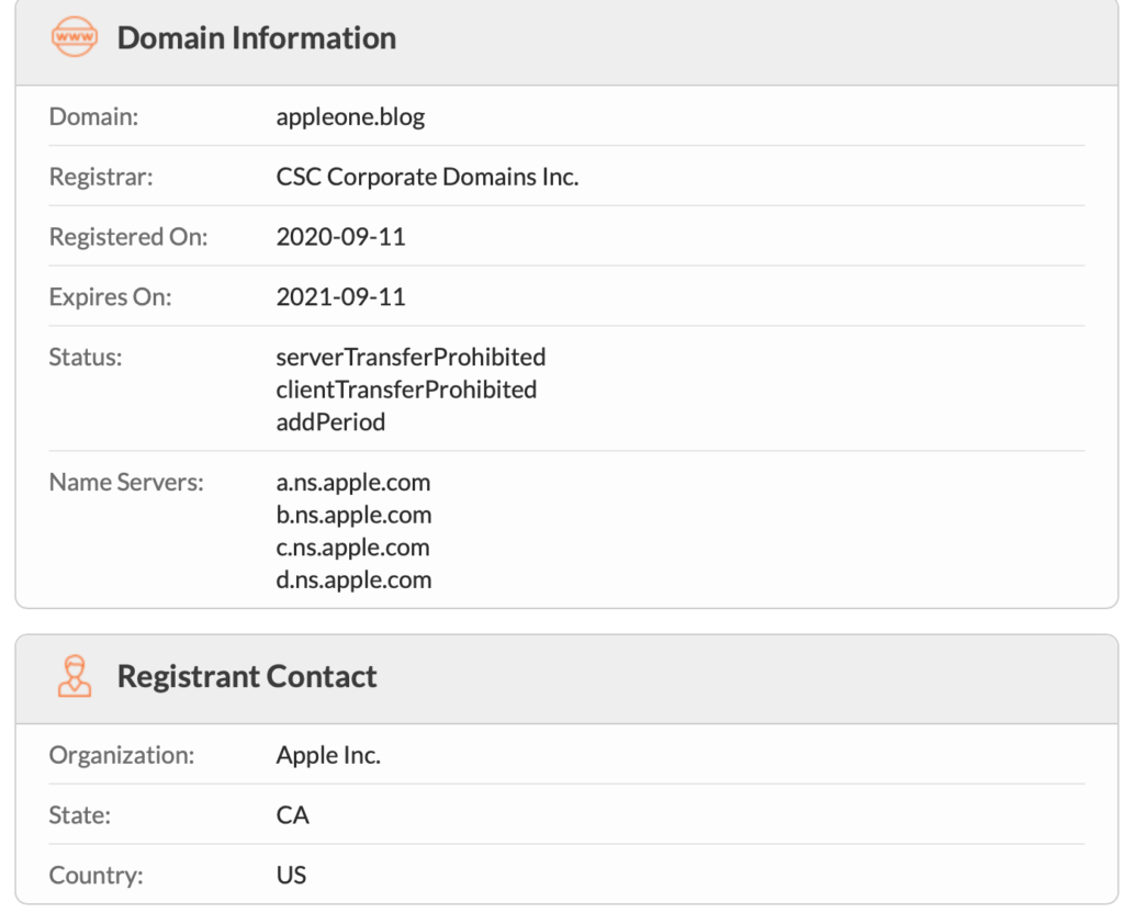 Apple One domain Whois record