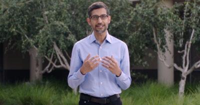 Sundar Pichai announcing Google carbon free by 2030 plans