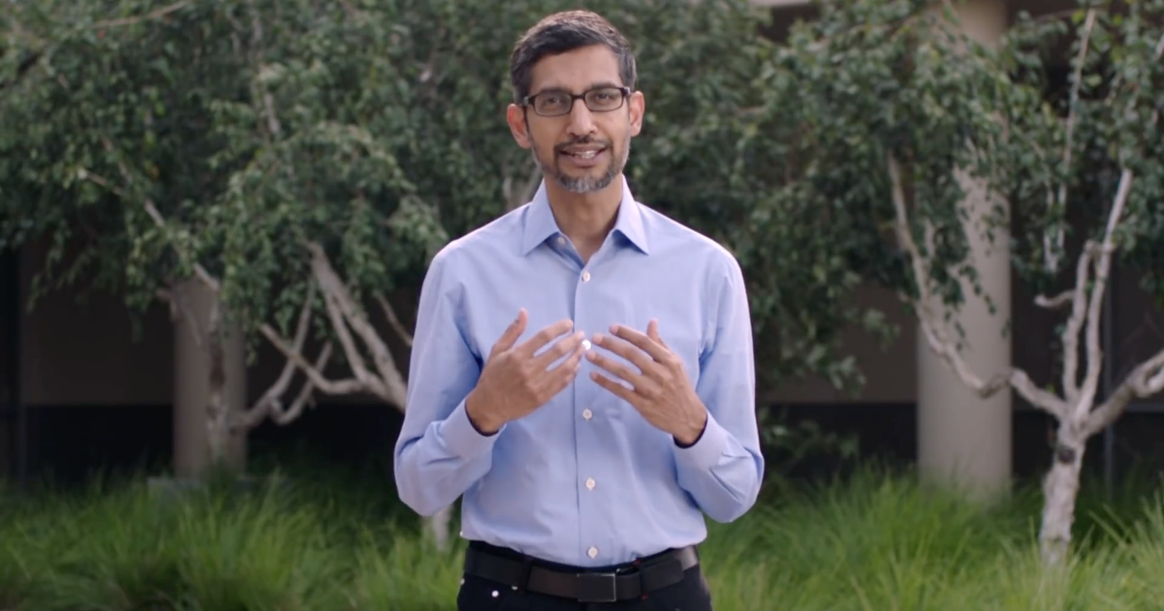 Sundar Pichai announcing Google carbon free by 2030 plans