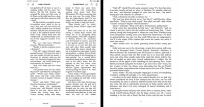 Books App in iPadOS 14 with 2-column view on the left and 1-column view on the right