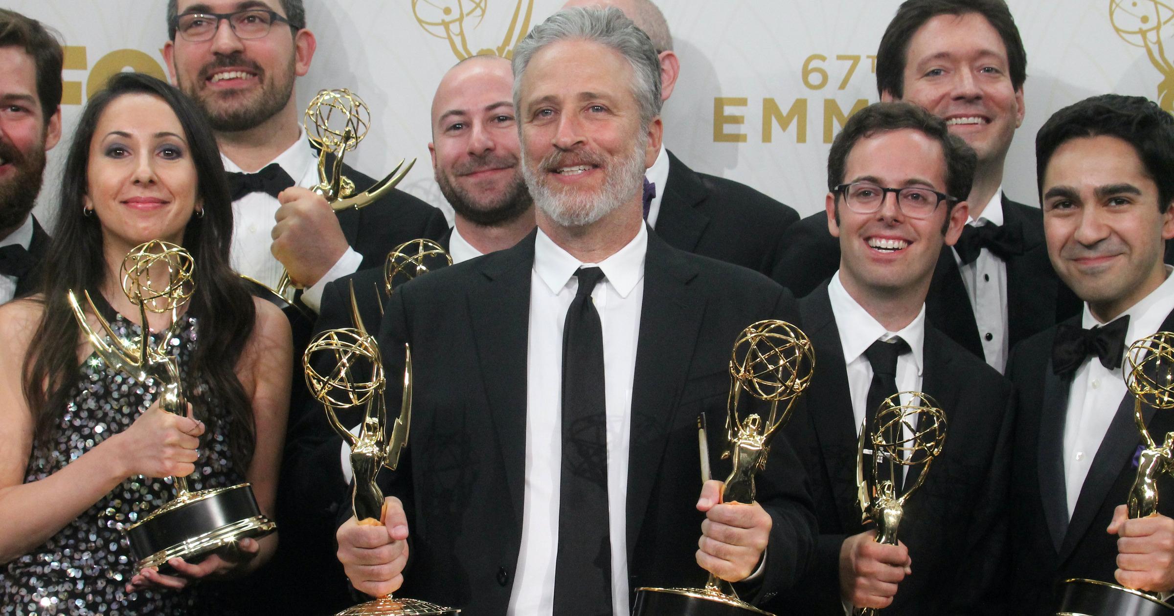 Jon Stewart with Emmy Awards