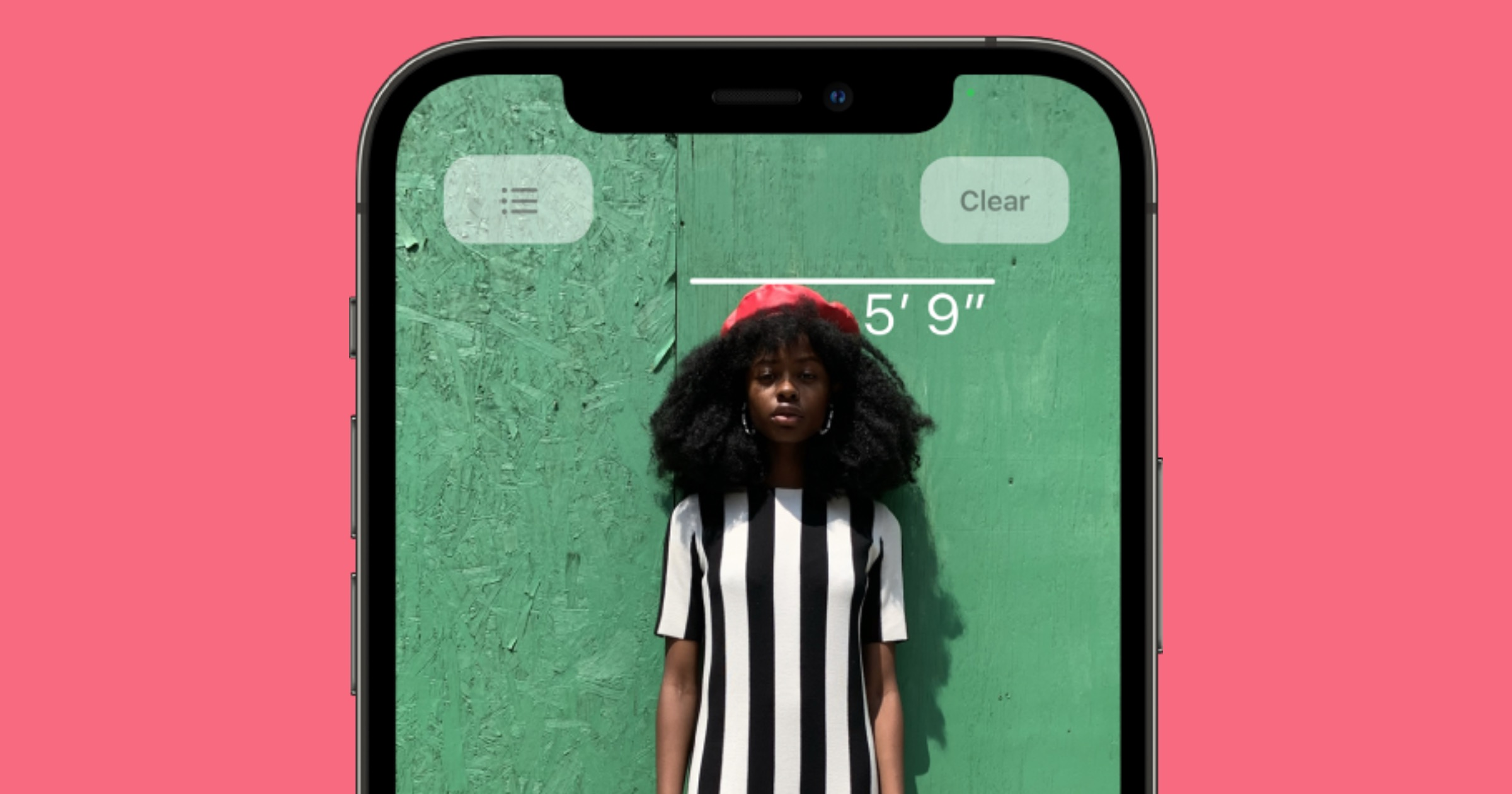 Screenshot of measuring a person using iPhone 12 Pro.