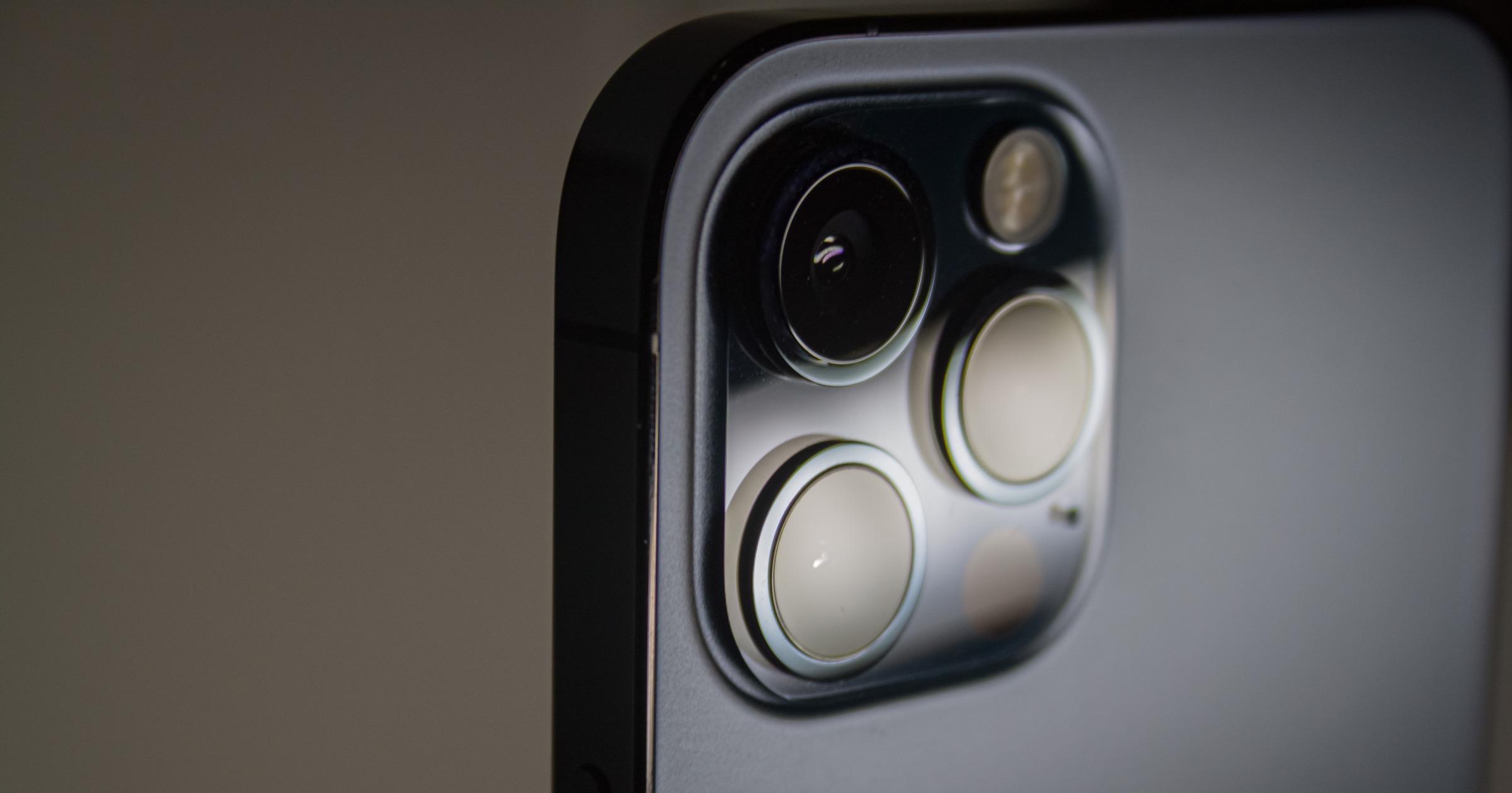 Closeup of the iPhone 12 Pro camera.