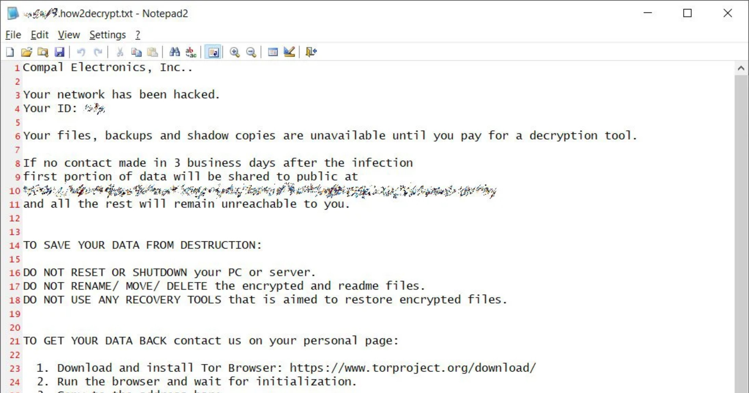 Compal ransomware note
