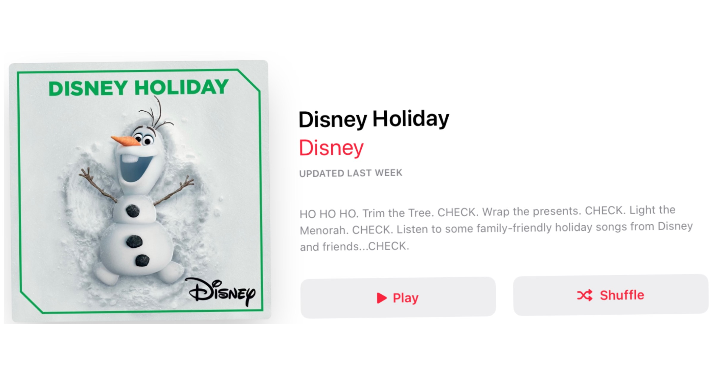 Disney playlist 2020 On apple music