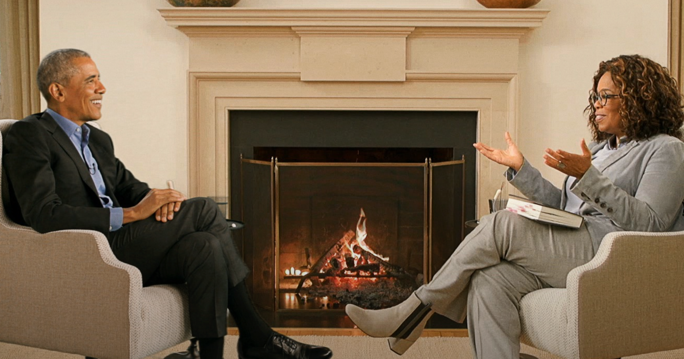 Oprah Winfrey interviewing President Barack Obama on Apple TV+