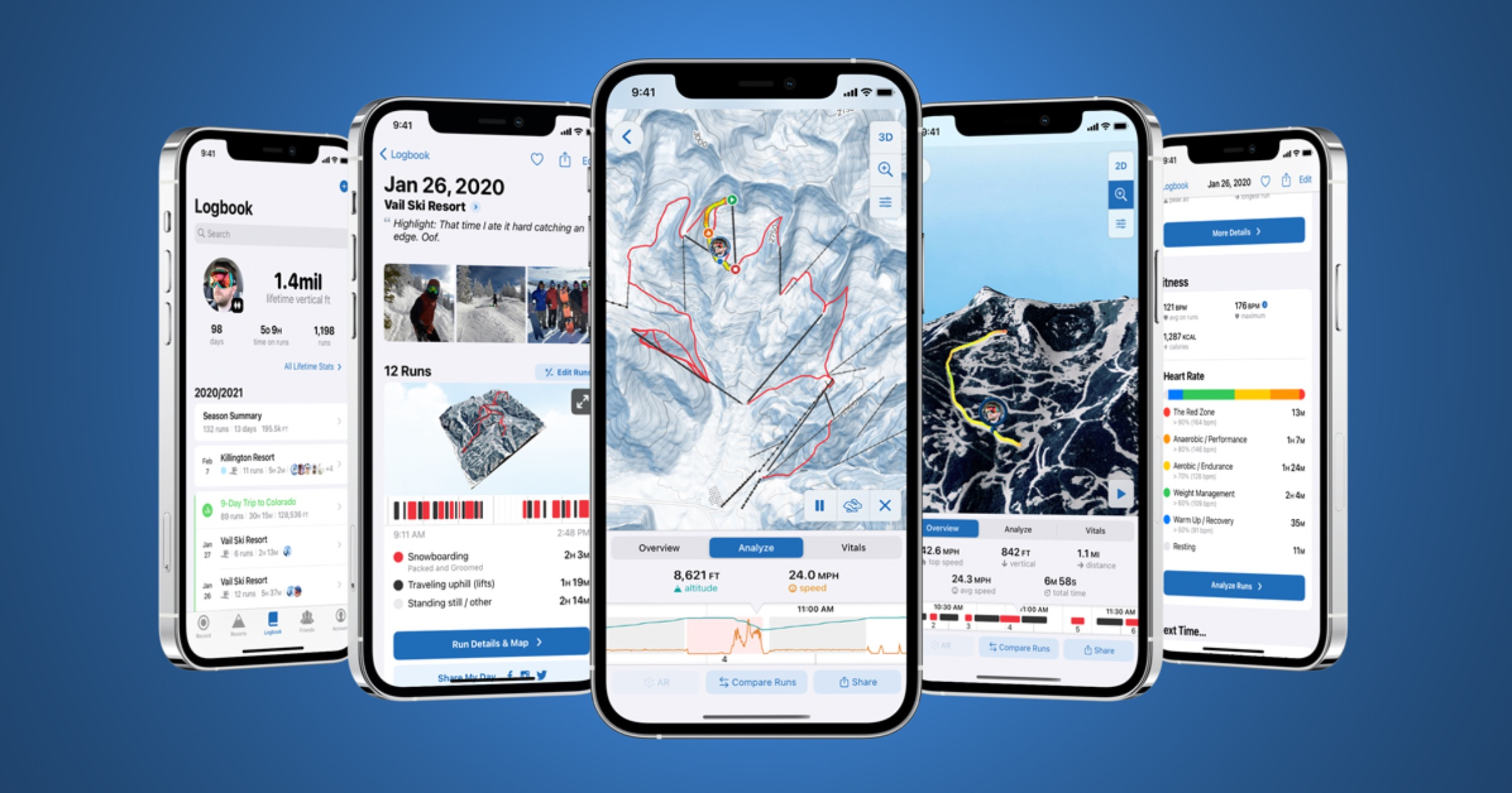 iPhone 12 models running the Slopes app.