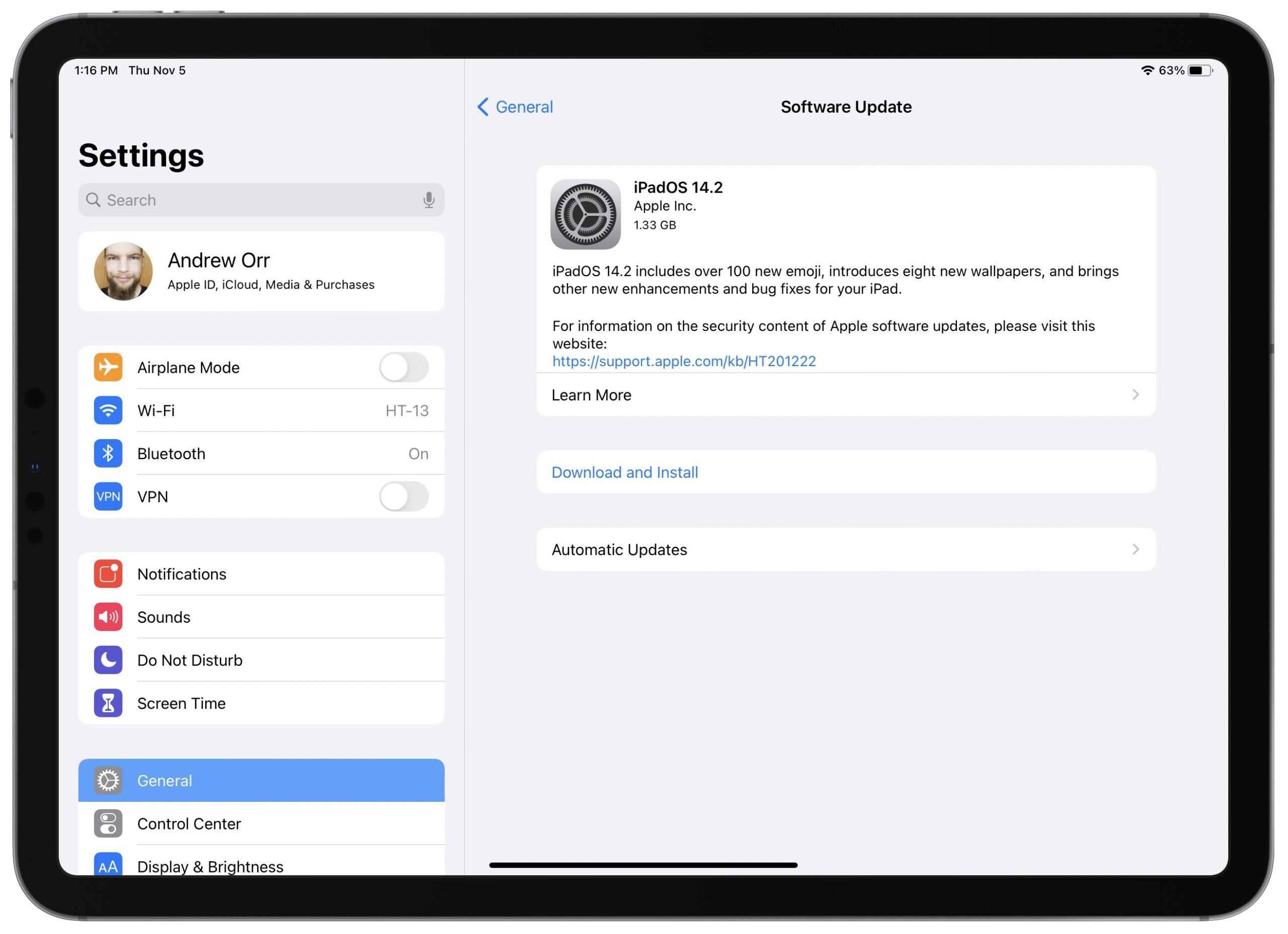 iPadOS 14.2 screenshot