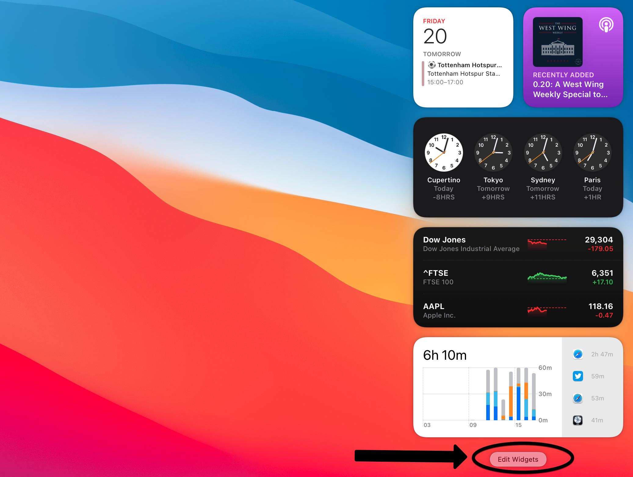 macOS Big Sur Edit Widgets
