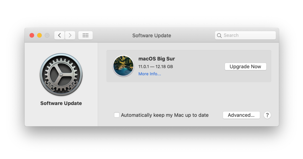 macOS Big Sur update window in System Preferences