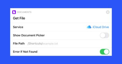 Get file action for shortcuts