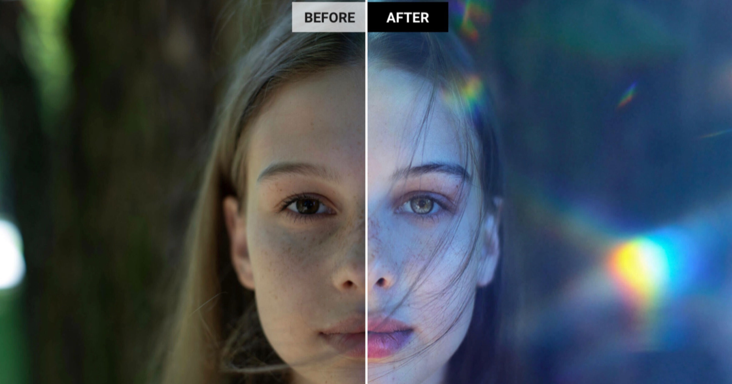 Before and after comparison of a photo edited with Luminar AI.