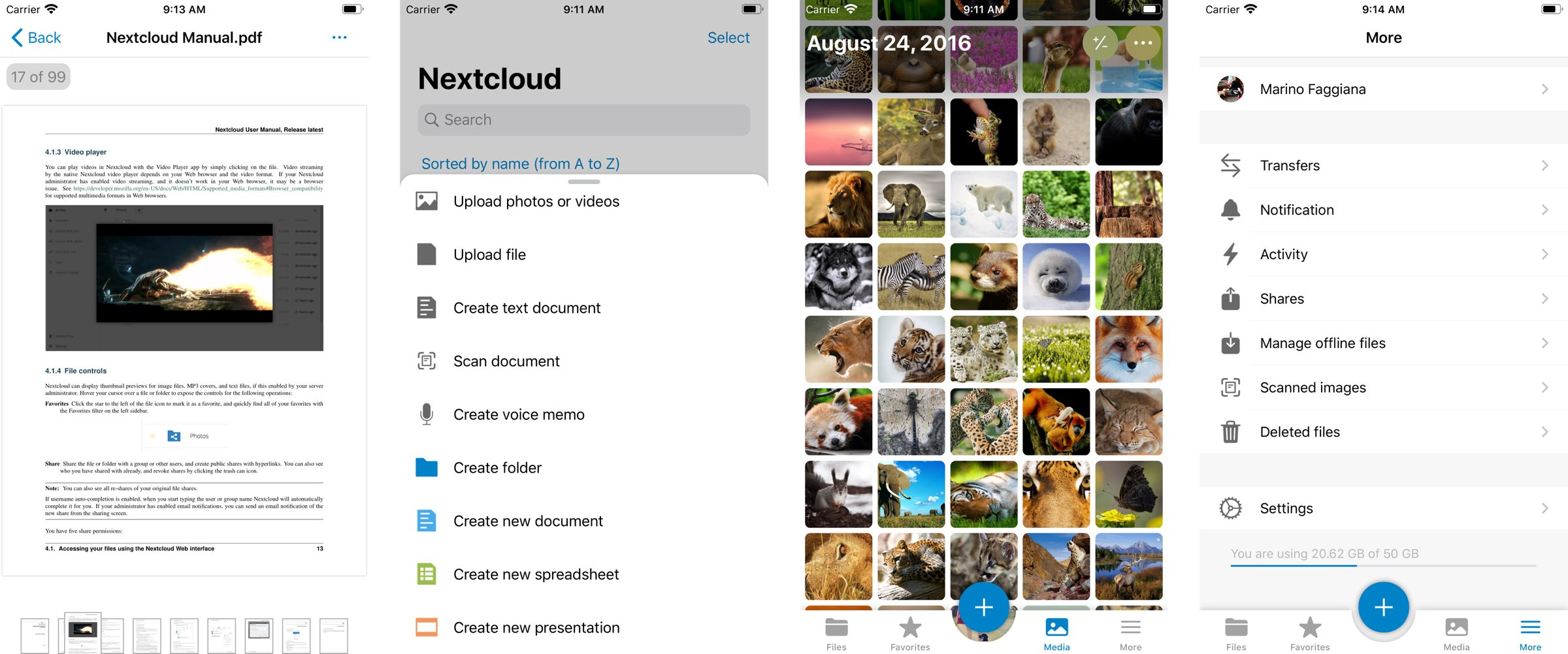 Nextcloud screenshots
