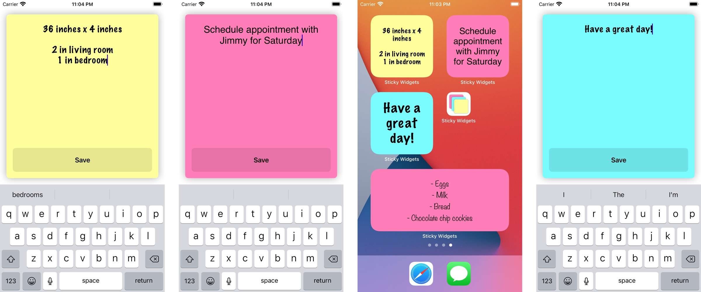 Sticky widgets screenshots