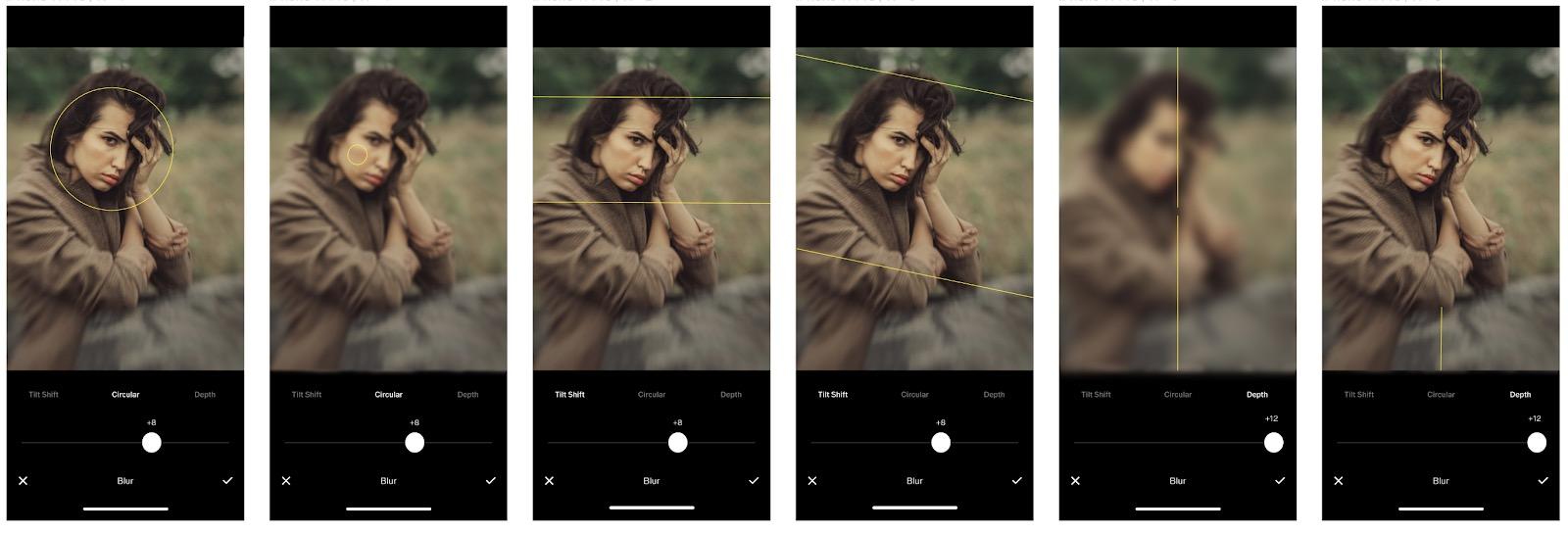 VSCO blur tool screenshots