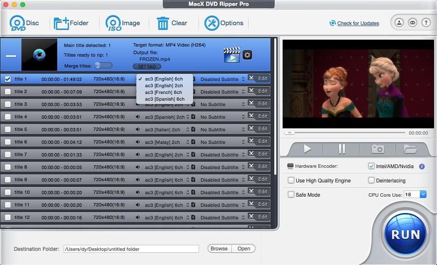 MacX DVD Ripper Pro Interface Screenshot