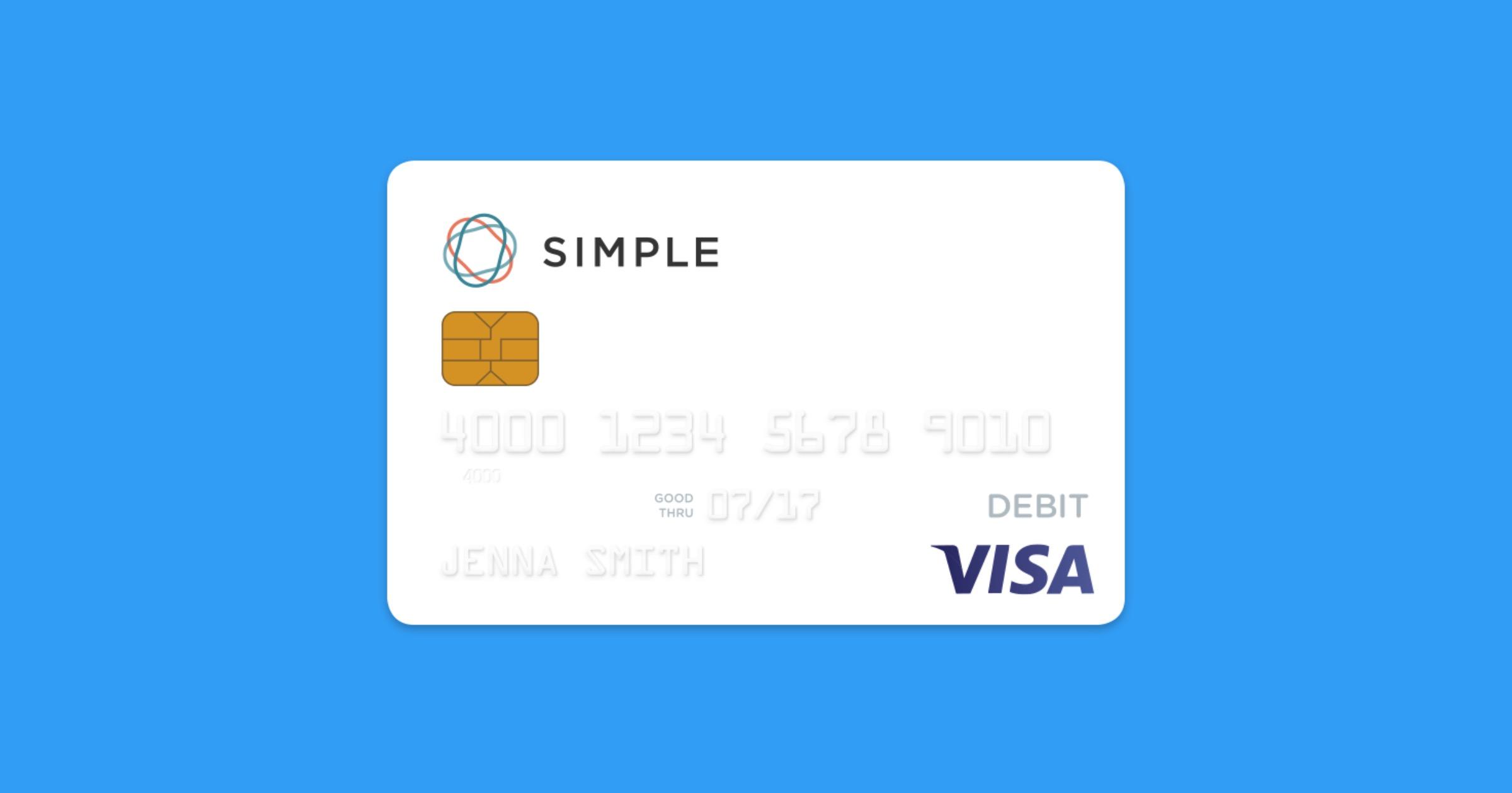 Simple banking debit card