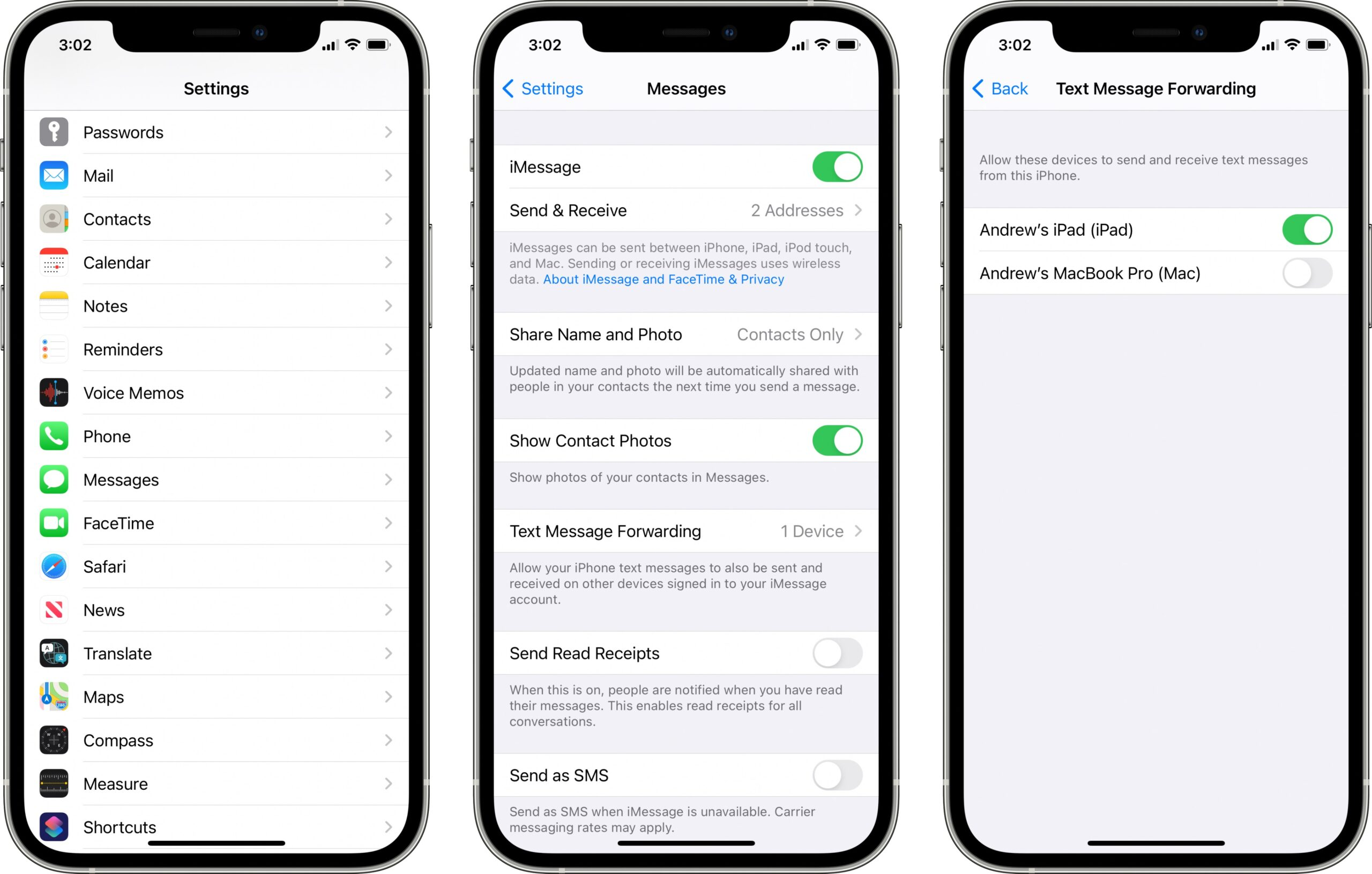 iPhone text message forwarding