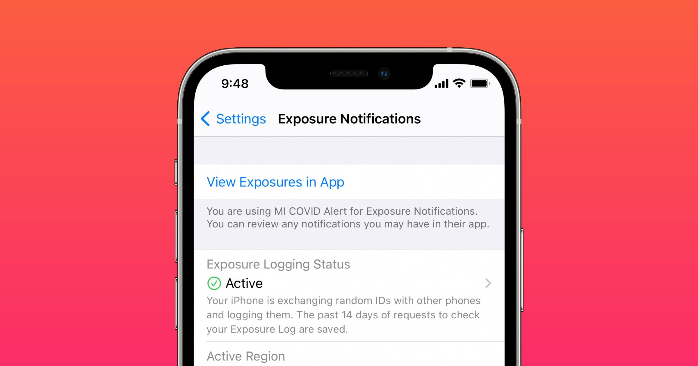 Exposure notifications on iPhone