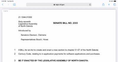 North Dakota senate bill 2333