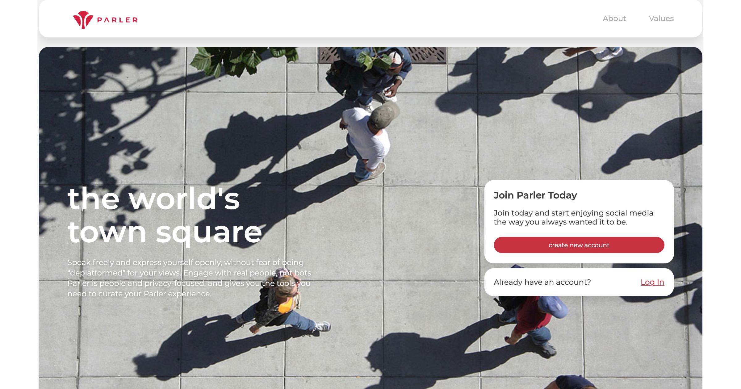 Parler webpage