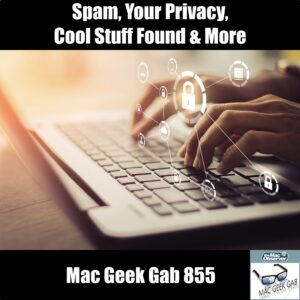 Mac Geek Gab 855 Episode Image with Spam and Privacy