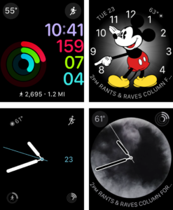 Watch faces (clockwise): Activity, Mickey Mouse, Vapor, Simple