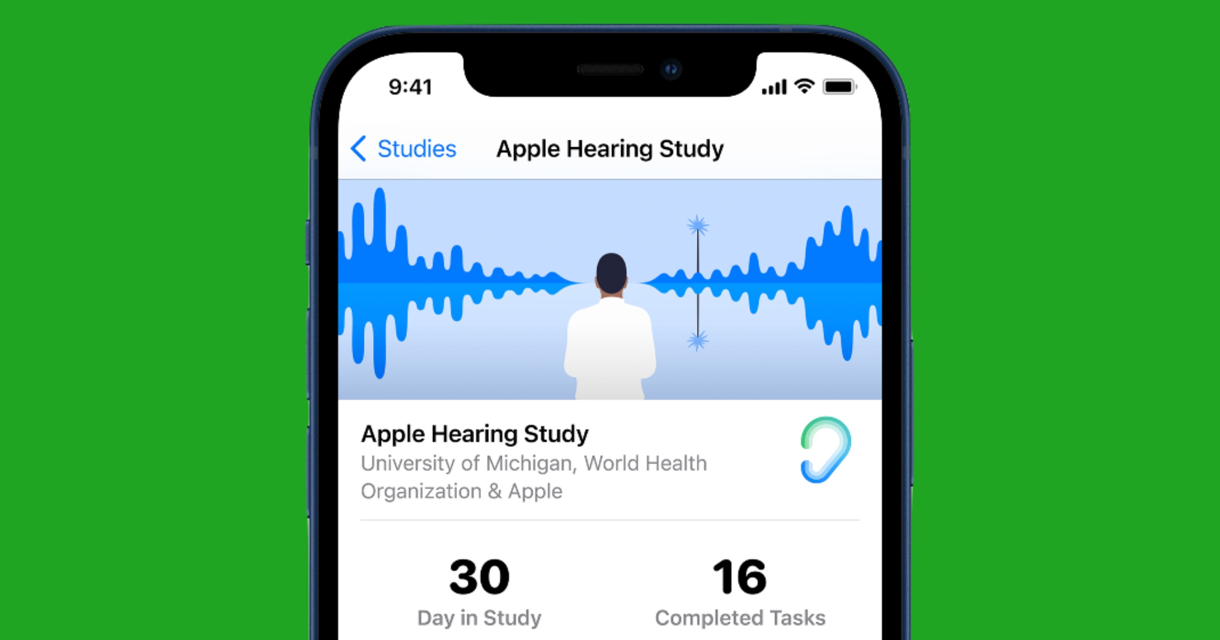Apple hearing study research app