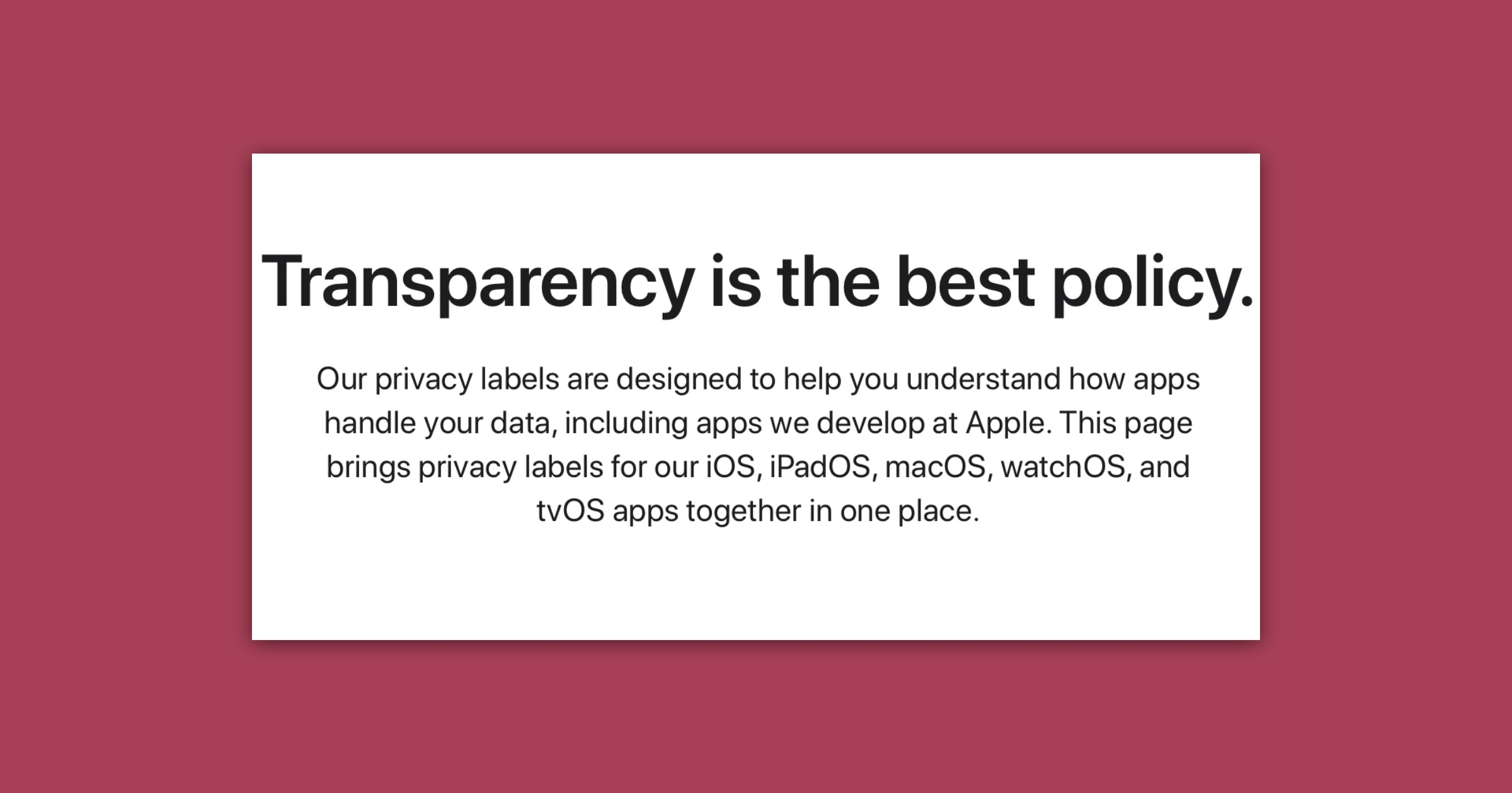 Apple privacy labels web page