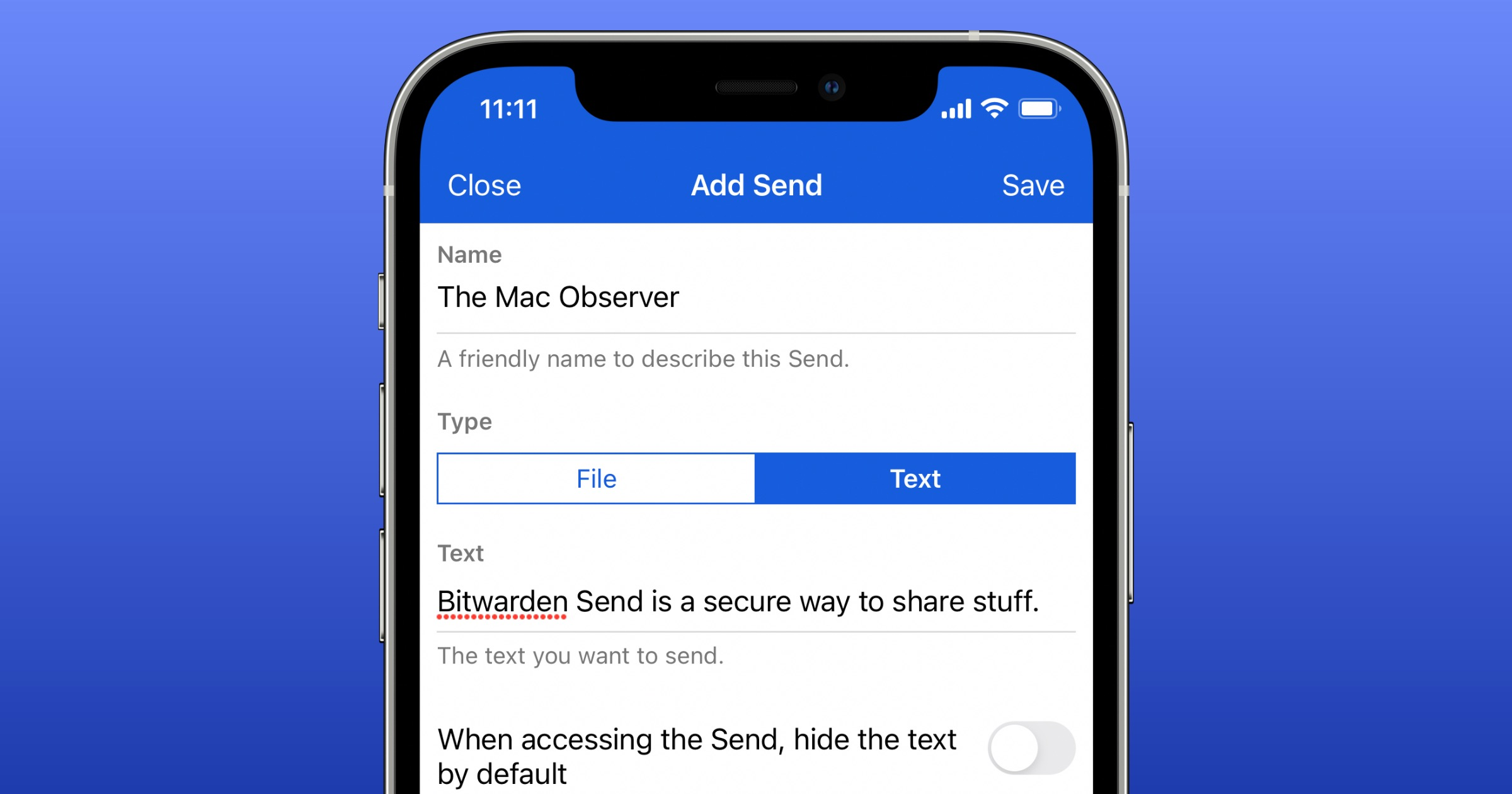 Bitwarden send on iPhone
