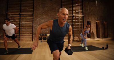Trainer Gregg Cook leads classes in strength, core, cycling, and mindful cooldown.