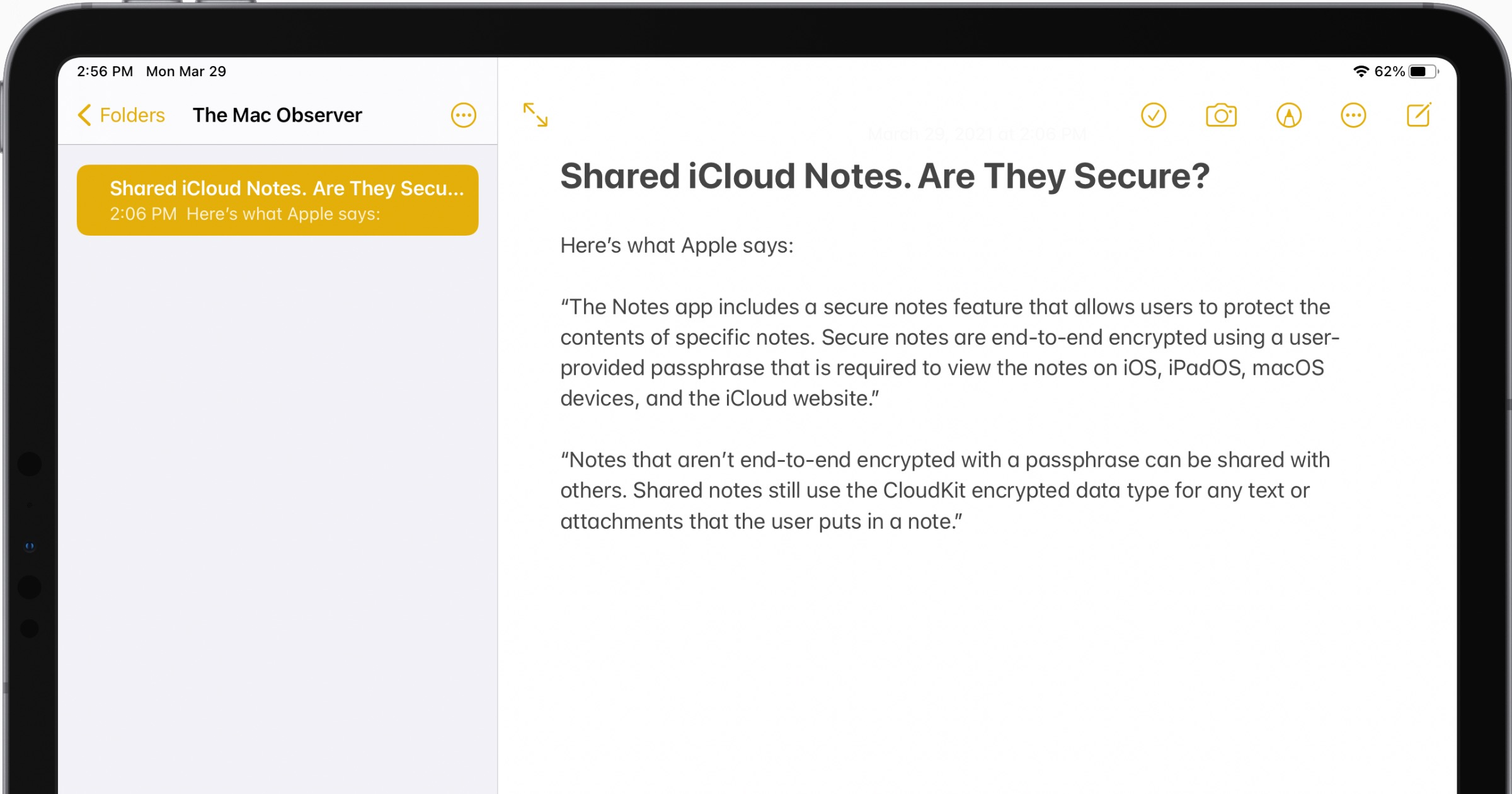 Shared icloud notes