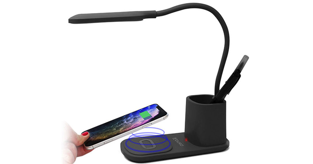 Aduro U-Light Desktop Lamp Organizer with Wireless Charging Stand