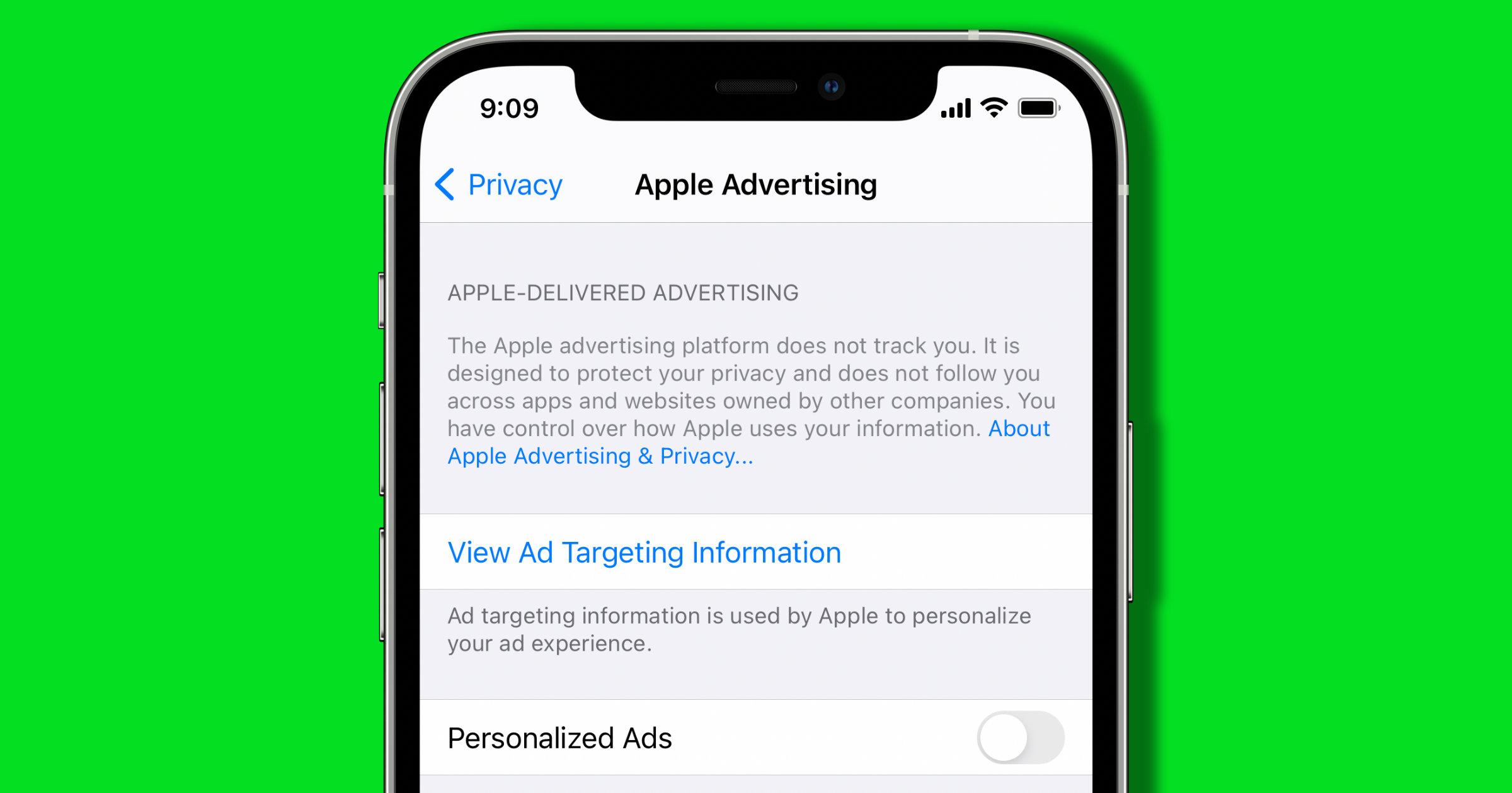 apple advertising iphone setting