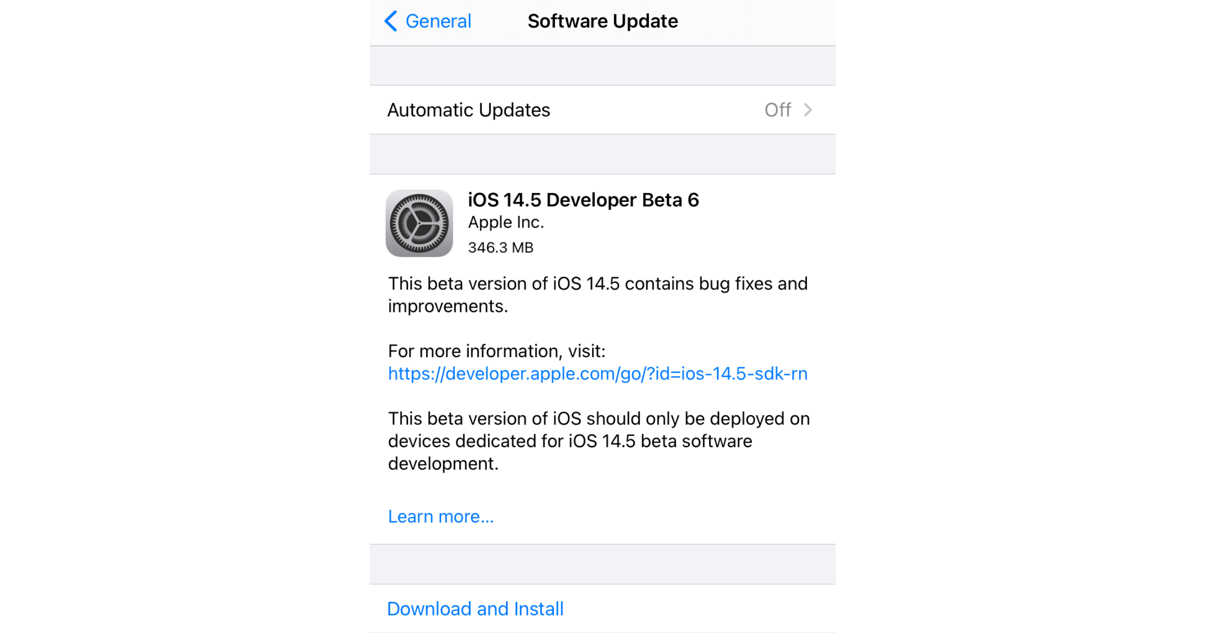iOS 14.5 developer beta 6