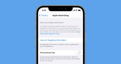 iOS personalized ads setting