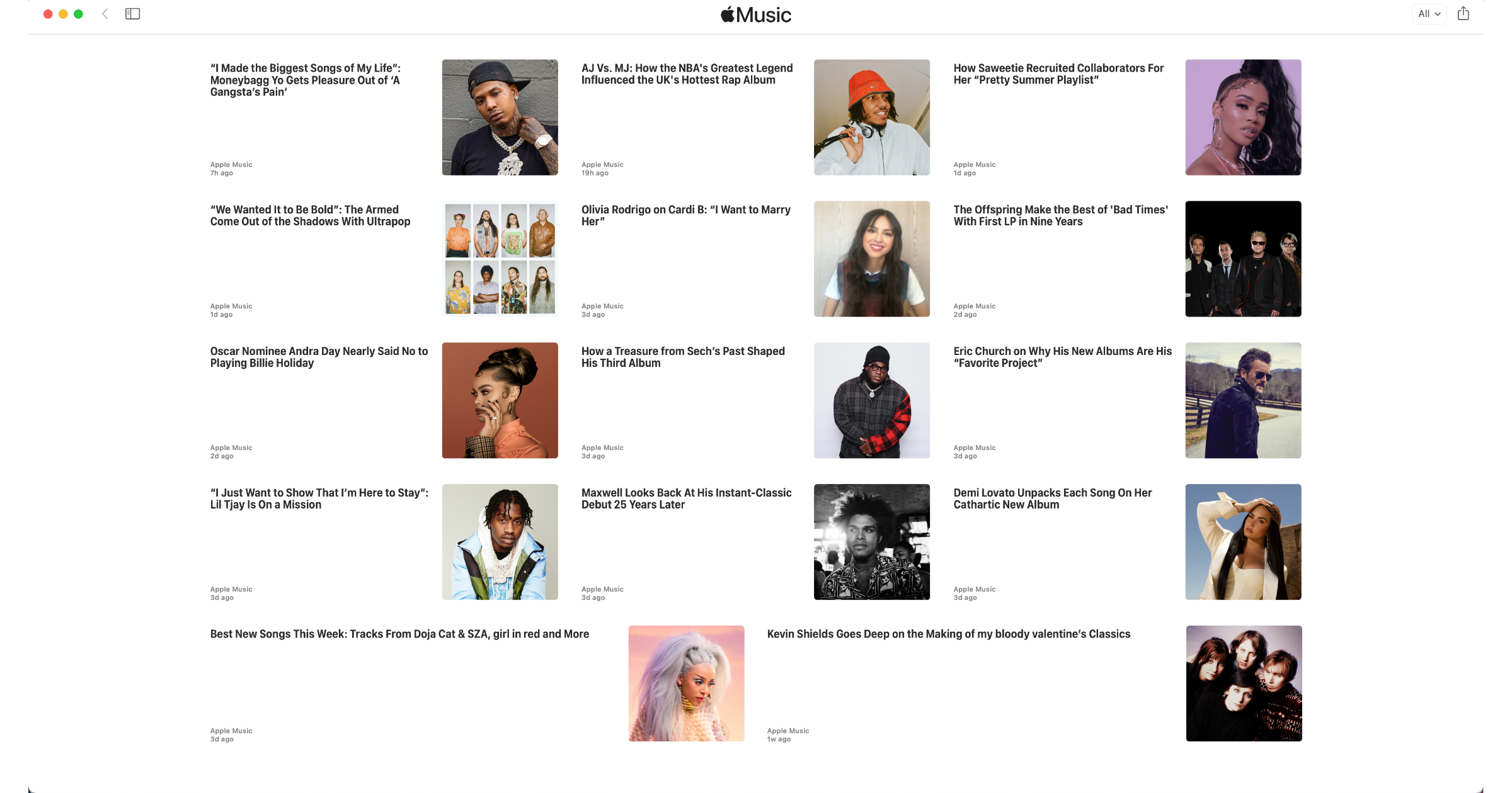 Apple Music channel in Apple News
