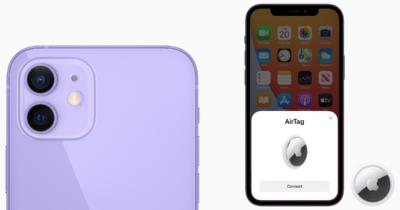 Purple iPhone 12 AirTag